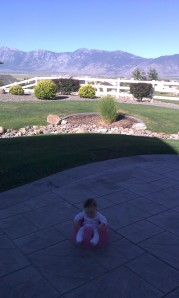 Eliza in Staci's backyard