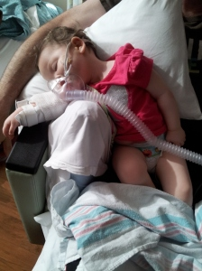 Tired during her breathing treatment