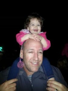 On daddy's shoulders at the Danville Tree Lighting