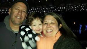 At zoo lights with mommy and daddy