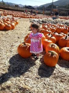 Eliza/Minnie with the pumpkins