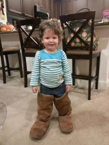 Wearing mommy's Uggs