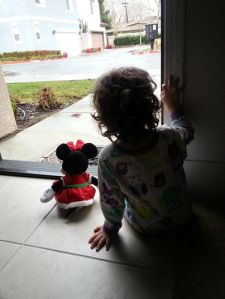 Watching the rain with Minnie Mouse.