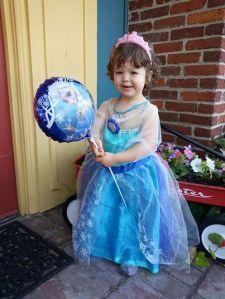 Eliza dressed as Princess Elsa
