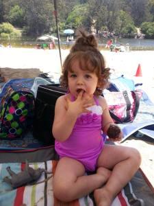 Enjoying a cupcake at Lake Anza