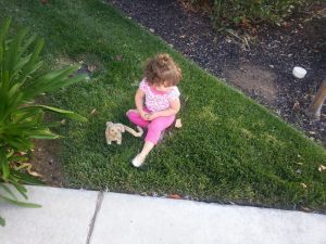 Pee break for her puppy