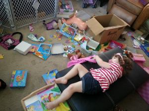 Making a mess in the living room.