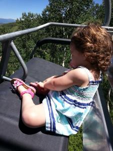 Eliza on the ski lift