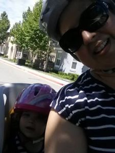 Riding a bike with mommy