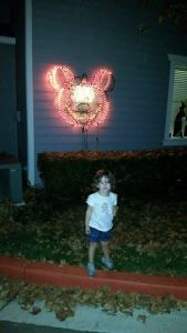 Pumpkin Mickey that our neighbor put up for Halloween