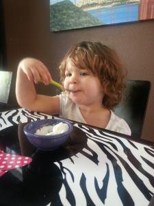 Eating coconut milk ice cream