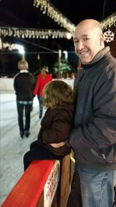 At Heavenly Village ice rink with daddy