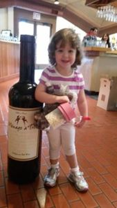 Posing after mommy picked up her wine club shipment