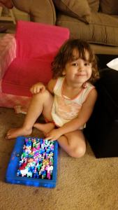 "She made a lite brite ""cake"" for daddy"